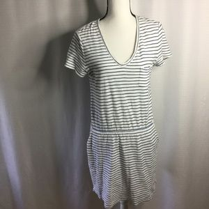 LOU & GREY Gray and white striped cotton dress S